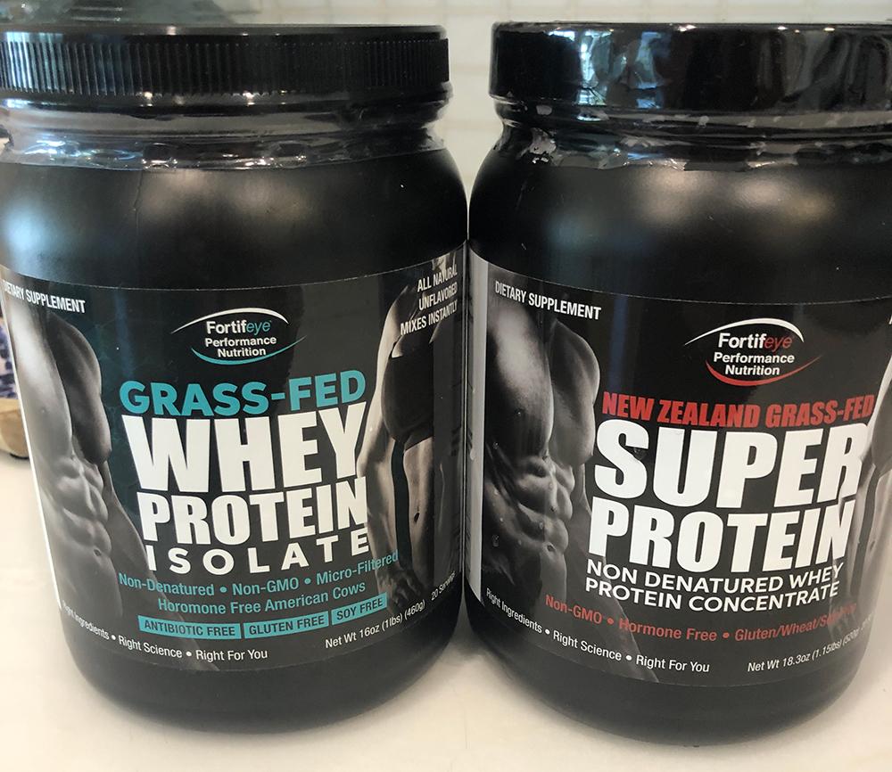 Fortifeye Whey Protein Super protein bottles